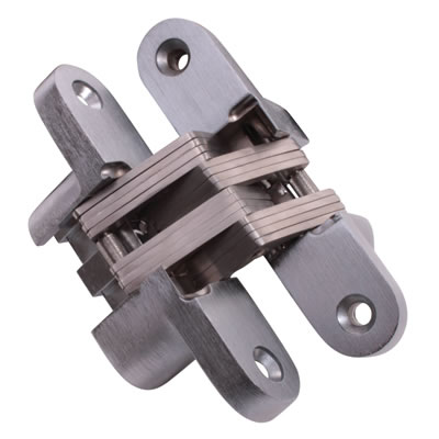 Tago Concealed Hinge - 45 x 13mm - Satin Chrome - Pair