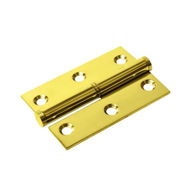 Lift-Off Hinge - 75 x 53 x 2mm - Left Hand - PVD Brass