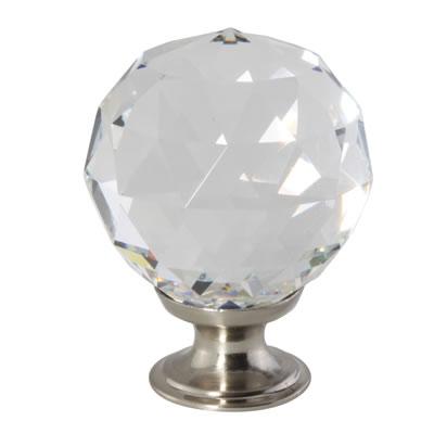 Aglio Cut Glass Cabinet Knob - 40mm - Satin Nickel)