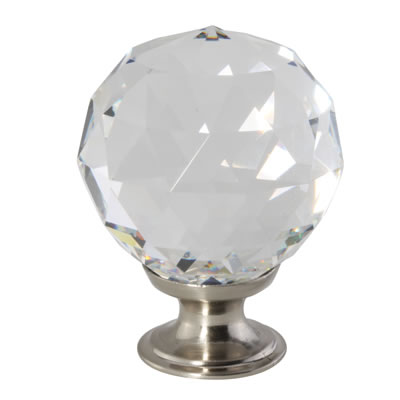 Aglio Cut Glass Cabinet Knob - 40mm - Satin Nickel)
