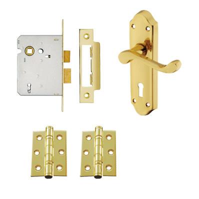 Aglio Ashmead Handle Door Kit - Keyhole Lock Set - Polished Brass