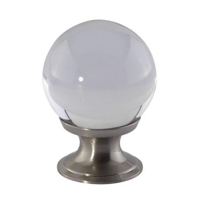 Aglio Ball Glass Cabinet Knob - 30mm - Satin Nickel