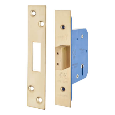 A-Spec Architectural 5 Lever Deadlock - 65mm Case - 44mm Backset - PVD Brass