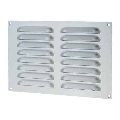 Hooded Louvre Vent - 229 x 152mm - 6600mm2 Free Air Flow - Satin Aluminium