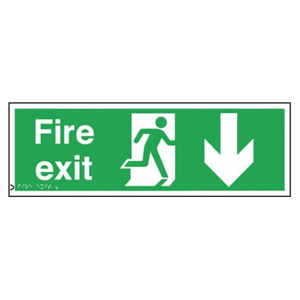 Fire Exit Sign - Down Arrow - Braille
