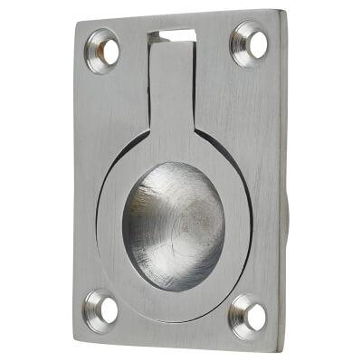 Rectangular Flush Ring Pull - 50 x 38mm - Satin Chrome
