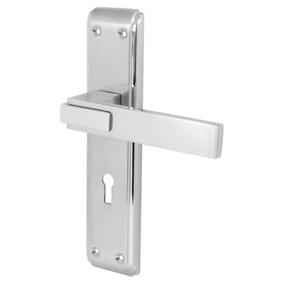 Morello Modena Door Handle - Lock Set - Satin and Polished Chrome