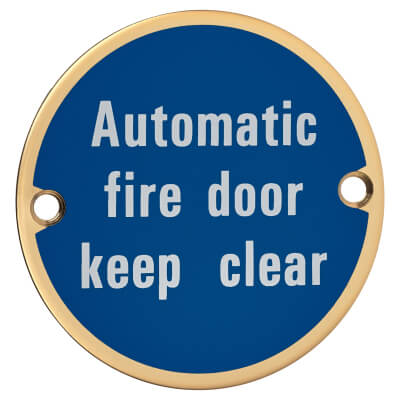 Automatic Fire Door Keep Clear - 75mm - Polished Brass)