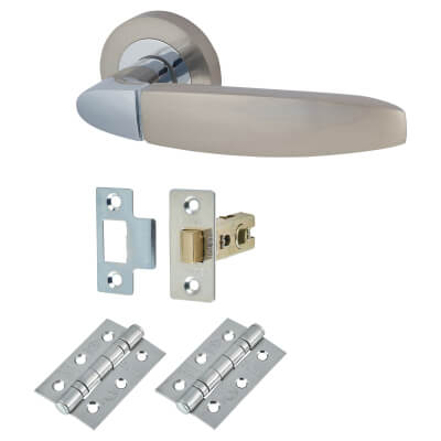 Touchpoint Isobel Lever Door Handle on Rose - Door Kit - Polished/Satin Chrome