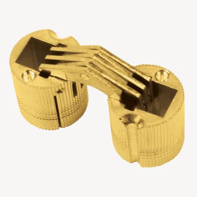 Concealed Rounded Cabinet Hinge - 24mm - Polished Brass