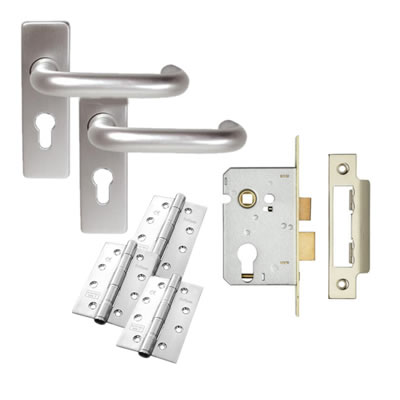 Lever on Backplate Door Kit - Euro Lock Set - Aluminium