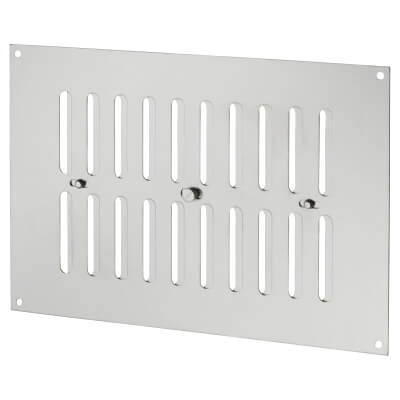 Raised Hit & Miss Pattern Vent - 242 x 165mm - 1960mm2 Free Air Flow - Satin Stainless)