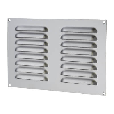 Hooded Louvre Vent - 242 x 165mm - 6650mm2 Free Air Flow - Satin Stainless