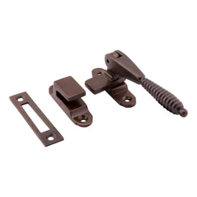 Hampstead Reeded Hook & Plate Window Fastener - Soft Antique Bronze