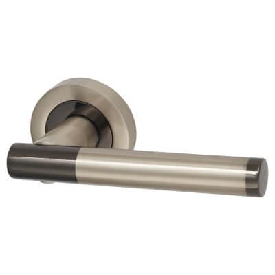 Touchpoint Bella Lever Door Handle on Rose - Black/Satin Nickel