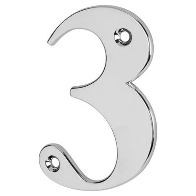 76mm Numeral - 3 - Bright Chrome