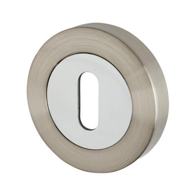 Excel Escutcheon - Keyhole - Satin Nickel/Polished Chrome