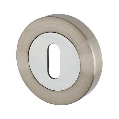 Excel Escutcheon - Keyhole - Satin Nickel/Polished Chrome