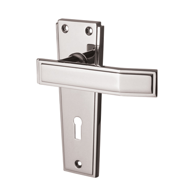 Jedo Deco Door Handle - Keyhole Lock Set - Polished Chrome