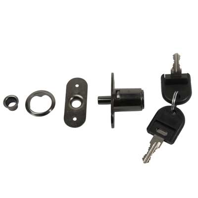 Cabinet Push Lock - 19 x 23mm - Keyed to Differ - Black Nickel
