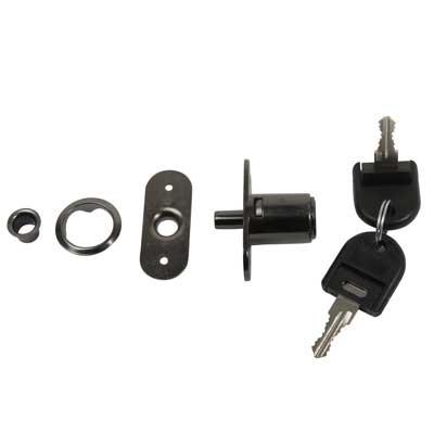 Cabinet Push Lock - 19 x 23mm - Keyed to Differ - Black Nickel