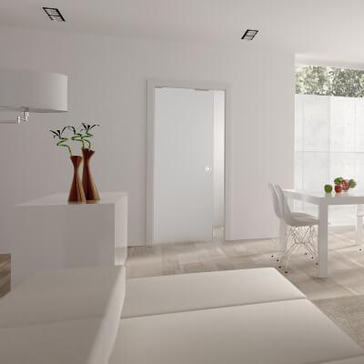 Eclisse 8mm Glass Single Pocket Door Kit - 125mm Wall - 826 + 826 x 2040mm Door Size
