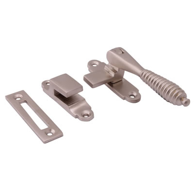 Cast Reeded Casement Hook & Plate Fastener - Satin Nickel