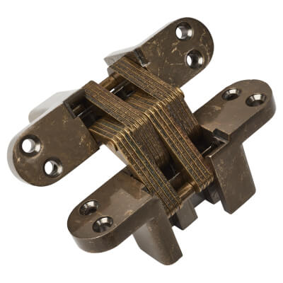 Tago Concealed Soss Hinge - 117 x 29mm - Antique Brass - Pair