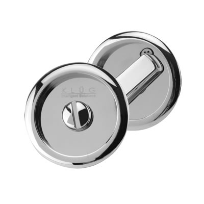 KLÜG Round Flush Privacy Turn & Release Set - 63mm Diameter - Polished Chrome