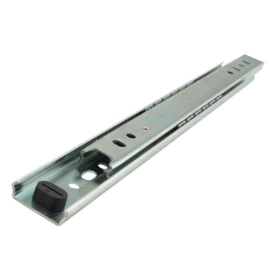 Motion 27mm Ball Bearing Drawer Runner - Single Extension - 400mm - Zinc