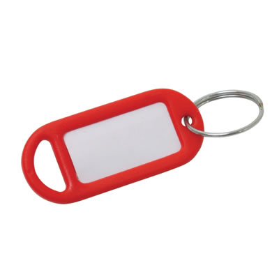 Key Ring Tag - 48 x 21mm - Red - Pack 10