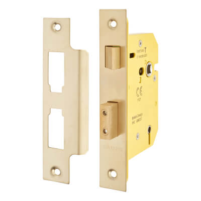 Altro 5 Lever Sashlock - 78mm Case - 57mm Backset - PVD Brass