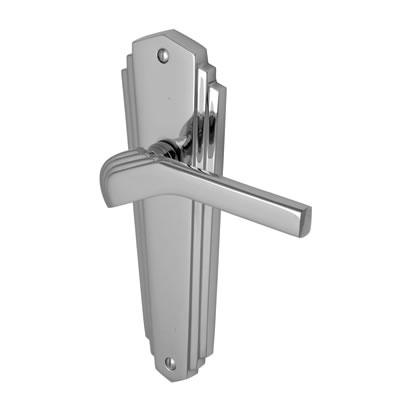 M Marcus Waldorf Door Handle - Latch Set - Polished Chrome