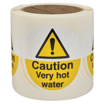 Self Adhesive Vinyl Labels - Caution Very Hot Water)