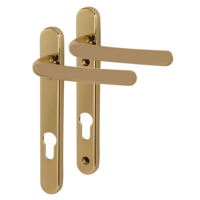 Fab & Fix Windsor Multipoint Lever/Lever Door Handle - uPVC/Timber - 92mm centres - Hardex Gold