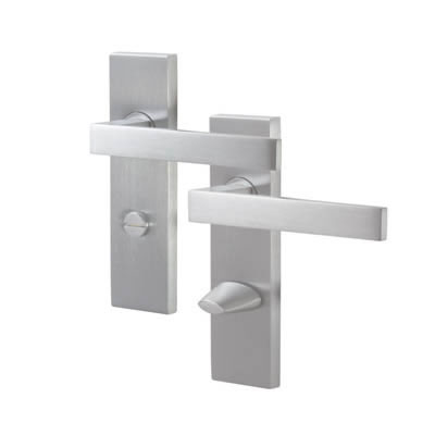 M Marcus Delta Door Handle - Bathroom Set - Satin Chrome