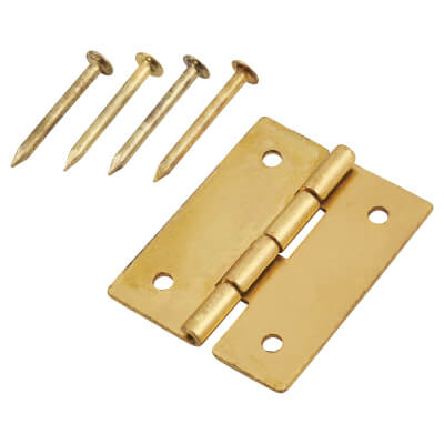 Mini Solid Brass Hinge - 19 x 15mm - Satin Brass