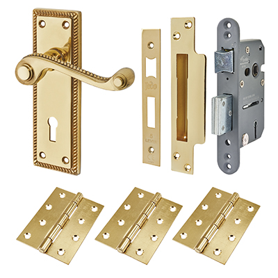 Touchpoint Budget Rope Edge Door Handle Kit - Keyhole Lock Set - Polished Brass