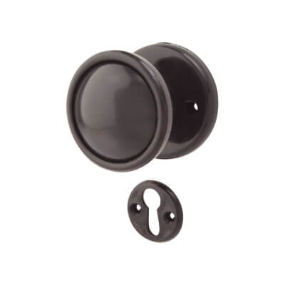 Plastic Rim Mortice Knobset - 51mm - Black
