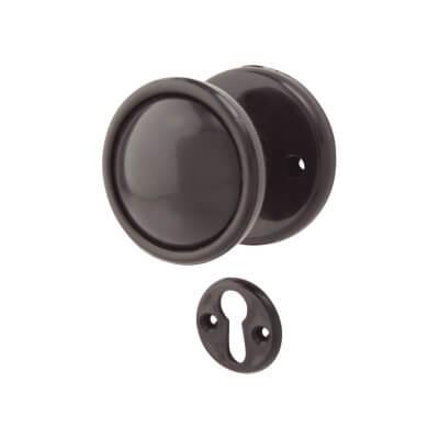 Plastic Rim Mortice Knobset - 51mm - Black