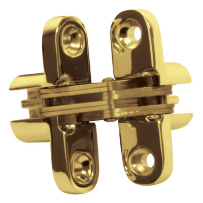 Tago Concealed Hinge - 70 x 16mm - Polished Brass - Pair