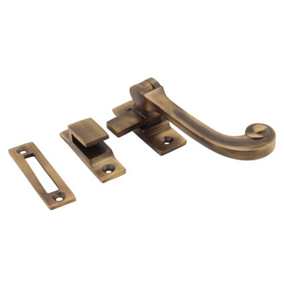 Cast Solid Curl Casement Hook & Plate Fastener - Antique Brass