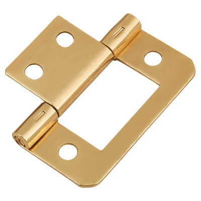 Flush Hinge - 40mm - Brass Plated - Pack of 10 pairs