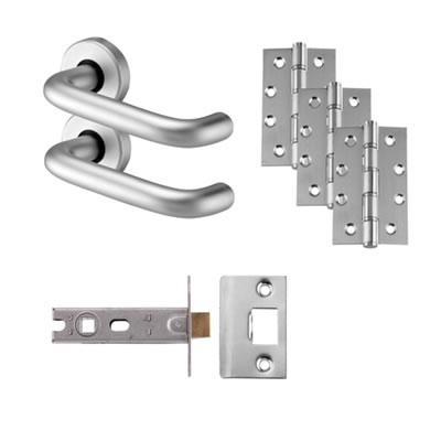 Door Handle on Rose Kit - Latch - Aluminium