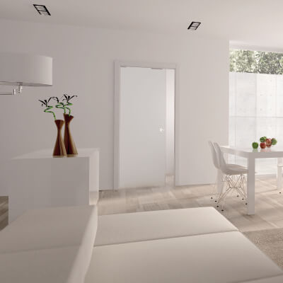 Eclisse 8mm Glass Single Pocket Door Kit - 100mm Wall - 762 x 1981mm Door Size)