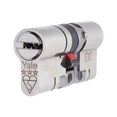 Yale® 3 Star Anti-Snap Platinum Euro Double Cylinder - 100mm Length - 50 + 50mm - Brushed Nicke)