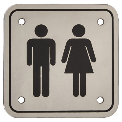 Unisex Square Toilet Door Sign - 100 x 100mm - Polished Stainless Steel)