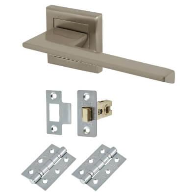 Elan Savona Door Handle - Door Kit - Satin Nickel