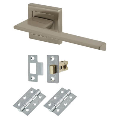 Elan Salerno Door Handle - Door Kit - Satin Nickel