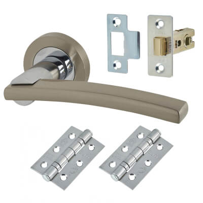 Elan - Mira Lever Door Handle on Rose - Door Kit - Satin Nickel/Polished Chrome